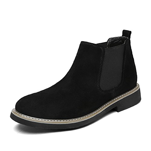 LILY999 Herren Chelsea Boots Wildleder Warm Gefütterte Stiefeletten Flache Winterstiefel Wasserdichte Winterschuhe Schneestiefel Knöchelhohe Stiefel,Schwarz,43 EU