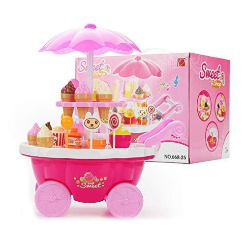 d60a5f90c6ab6 FDBF Kids Pretend Play Toy Music Lighting Ice-Cream Trolley Set for Little  Girls