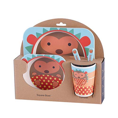 Kineca Kinder-Geschirr-Set 5er Baby-Bambusfaser-Cartoon Bowl Tier Geschirr Set Kleinkind-Cup-Löffel-Gabel