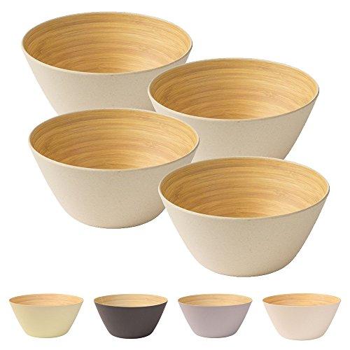 4 Pièces Premium bambou bol ivoire angulaire, rond 460 ml de kaufdichgrün I Bambou vaisselle bol de céréales fruits saladier en bois Deco bol service bol camping vaisselle
