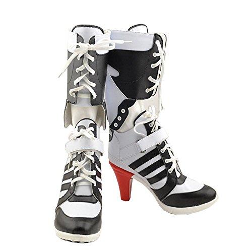 Schuhe Film Shoes Cosplay Kostüm Costume PU Knie Hoch Stiefel Boots Zubehör Accessories (Schuhe Quinn Harley)
