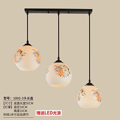 Luckyfree Einfache moderne Pendelleuchte Zimmer Bar Cafe Restaurant Küche Flur Lampen Deckenleuchte Kronleuchter, Emerald Green 1802 - Drei gerade