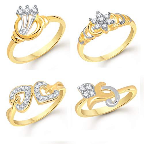 VK Jewels Gold Plated CZ Alloy American Diamond Combo Ring Set for Girls & Women [VKCOMBO1698G16]