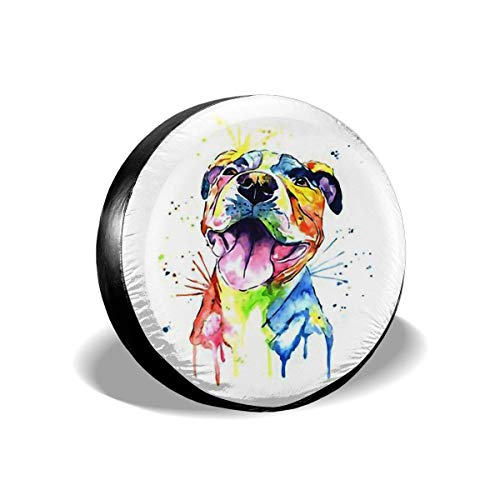 Vbnbvn Reserveradabdeckung, Cartoon Pit Bull Universal Spare Tire Cover, Vinyl Wheel & Tire Protector (Fit Vehicle Diameter 23'-33')