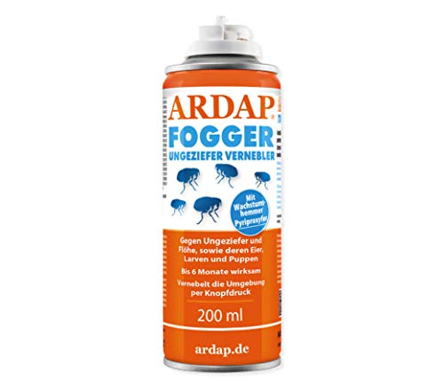 ARDAP Fogger - Zuverlässiger Vernebler zur Ungeziefer- und Flohbekämpfung für die Anwendung im Innenbereich - wirksamer Schutz für bis zu 6 Monate - 200 ml