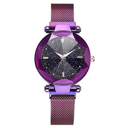 Traumzimmer Damen Armbanduhr Analog Rosegold Farbe Quarzuhr Unisex Erwachsene Quarz Uhr mit Edelstahl Magnetschnalle Mesh Armband damenuhr elegant Gold (Lila)