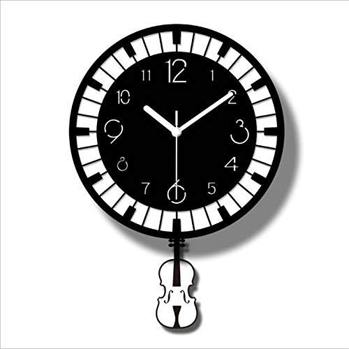 FGJMN Wanduhren Nordic Piano Clock Wanduhr Wohnzimmer Mode Stumm Persönlichkeit Einfache Moderne Wandkarten Acryl Kreative Uhr Wohnkultur, Schwarz