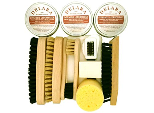 DELARA 12-teiliges Schuhputz-Set mit drei Dosen Intensiver Lederpflege, Holzbürsten mit Naturborsten, Poliertuch und Schwamm -