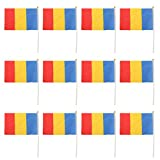 12pcs Mini Bandera Nacional de País Rumania Mano Agitando Deportivo Evento 14 x 21cm