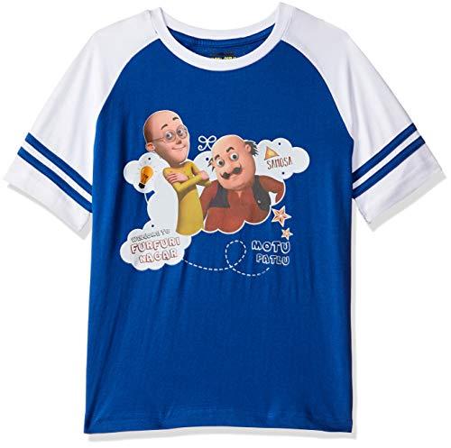 Motu Patlu Boys' Plain Regular Fit T-Shirt (MPPBSL0194_Royal Blue_5-6 Years)