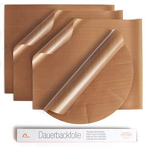 Amazy Dauerbackfolie (4er Set) – Das Premium Backpapier – Wiederverwendbar, hitzebeständig, antihaftbeschichtet und spülmaschinenfest (4er Pack – 3 x eckig, 1 x rund)