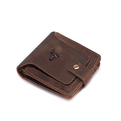 Xingxiu Herren Echtes Leder Kurze Brieftasche Horizontale Stil Retro Multi - Card Verschluss Geldbörse (Brieftasche Leder Herren Hipster)