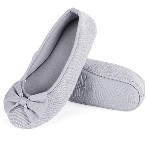 Wishcotton Women's Memory Foam Ballerina Slippers, Damen Atmungsaktiv Bogen Hausschuhe-39/40 EU-Grau