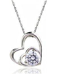 """Chaomingzhen Charm rhodiniert 925 Sterling Silber weiß Zirkonia Doppelklicken Herz Anhänger Halskette für Damen mit Kette 18"""""""
