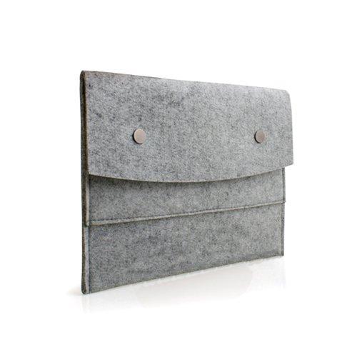 System-S Kunst Filz Tasche Etui Hülle Sleeve Cover Schutzhülle Bookstyle in Grau für 10 Zoll Tablet PC Tabs Ebook Reader