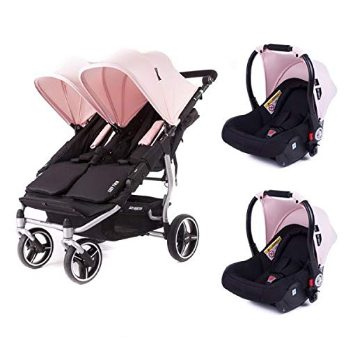 Poussette double Baby Monsters Easy Twin 3S Reversible - Chassis Silver + 2 sièges auto Luna Cupcake