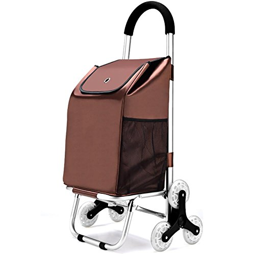 Cabaf Chariot Dolly Stair d'escalade roulant Courses Pliable panier , brown