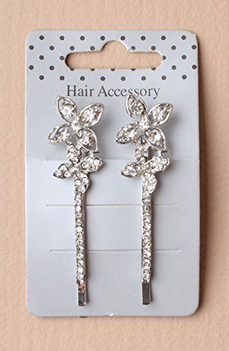 Lot de 2 barrettes à cheveux ornées d'une fleur de cristal argentée sur carton,accessoire pour cheveux