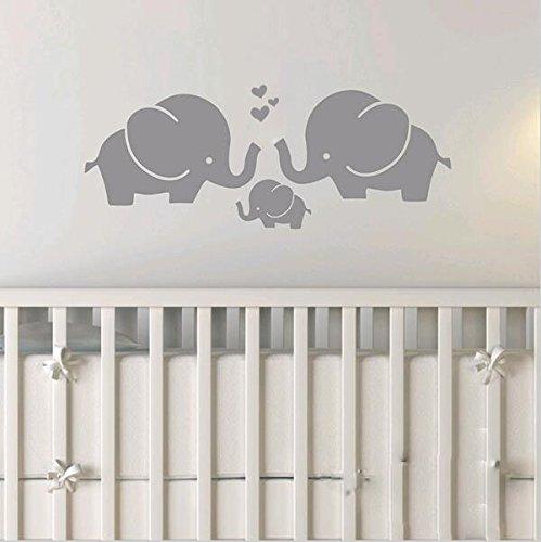 BDECOLL Tres lindos elefante pared calcomanía con lengua de amor Baby bebé monograma niños habitación (Gris)