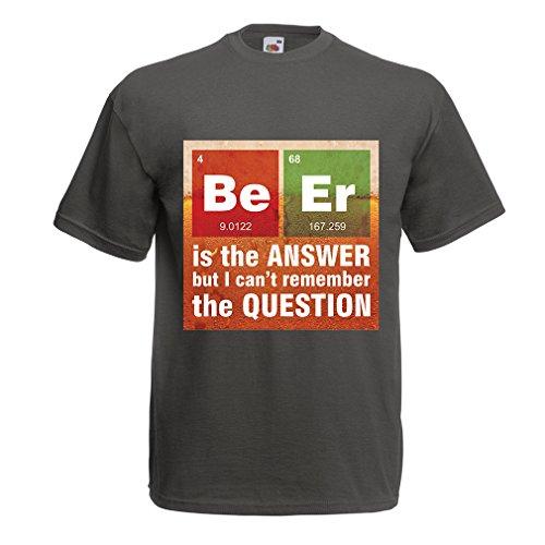 lepni.me N4520 T-shirt pour hommes La bière est la réponse (XX-Large Graphite Multicolore)