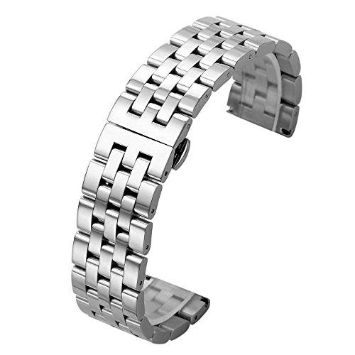 JSDDE Uhrenarmbänder Massiv Edelstahl Links Uhrenarmband gerade Ende Metallarmband Uhrband mit Schmetterling Schließe (Silber 24mm)