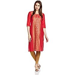 Aurelia Women's Straight Kurta (17FEK13094-62169_XXL_RED)