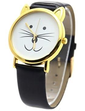 Reizende nette Katze-Gesichtsform Mädchen Zifferblatt Gold Alloy Rim Beard Faux Leder Uhr Armbanduhr Schwarz