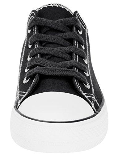 oodji Ultra Donna Sneakers di Tela con Punta in Gomma Nero (2910B)