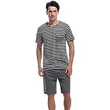 Sykooria Pijamas Hombre Cortos 2 Piezas Algodon,Mas Suave Comodo y Agradable