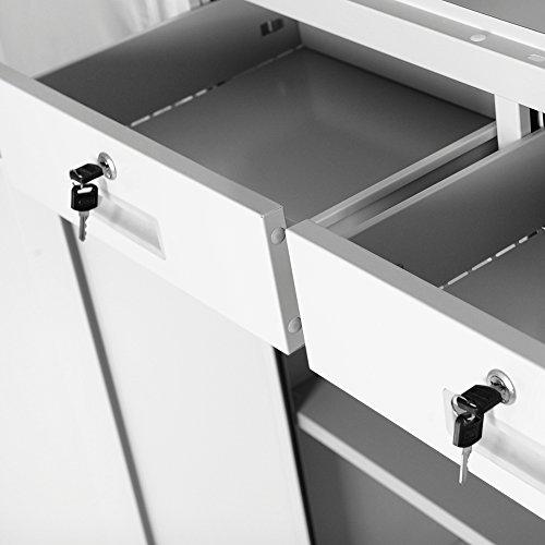 Aktenschrank Schubladen 90 cm weiß - 3
