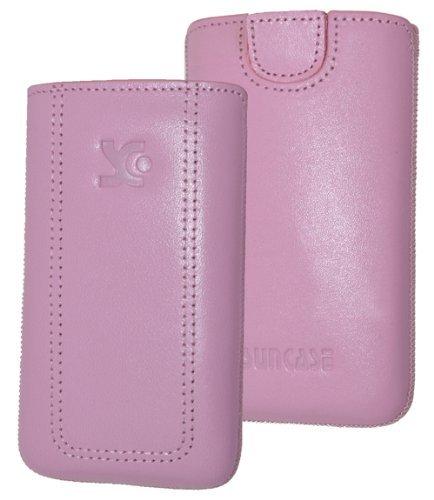 Original Suncase Tasche für / Emporia PURE / Leder Etui Handytasche Ledertasche Schutzhülle Case Hülle - Lasche mit Rückzugfunktion* in rosa