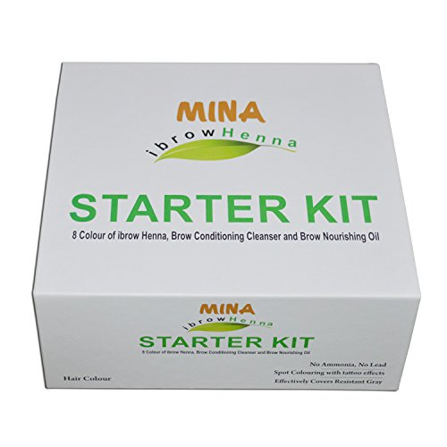 MINA Ibrow Henna Starter Kit- 8 Colours of ibrow Henna, Brow Conditioning Cleanser And Brow Nourishing Oil