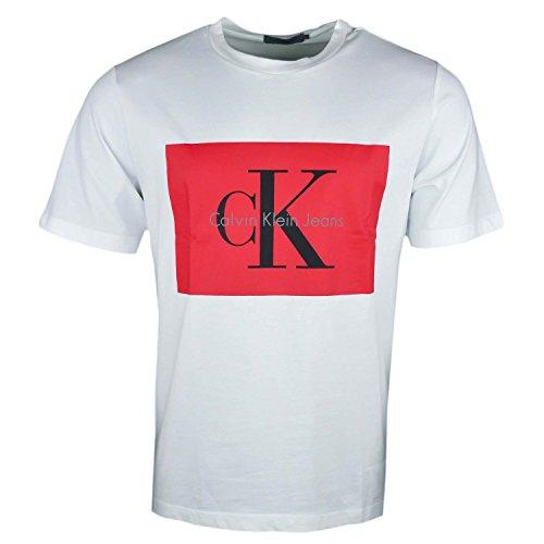 Calvin klein jeans t-shirt uomo tikimo 2 regular tee j30j307427 m bianco