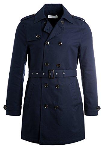 Pier One Trenchcoat für Herren in Marine Blau - Kurzer Zweireiher Mantel, XL