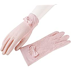 Tinksky Verano Vintage encaje Bowknot vestido guantes mujer Screentouch guantes sol protección Uv conducción guantes antideslizante boda favores (rosa)
