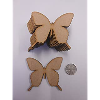 50mm Ornate Butterfly Embellishments - Blank Wooden MDF Shapes for Crafts - Pack of 20