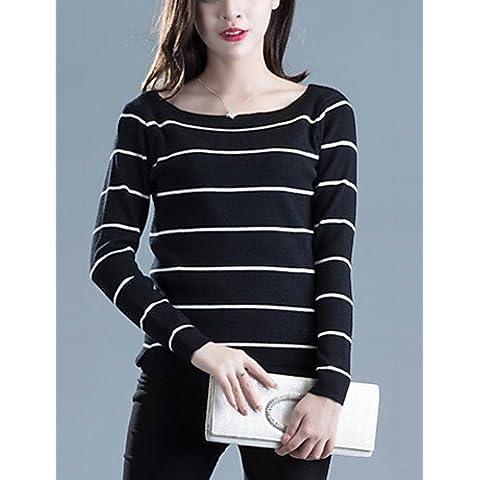 CU@EY Corto Pullover Da donna-Casual Moda città A strisce Bianco / Nero Rotonda Manica lunga Acrilico Autunno Medio spessore , black , one-size