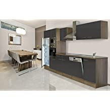 respekta Küchenleerblock Küche Leerblock Küchenzeile 340 cm Eiche York Grau