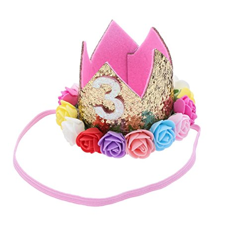 Frcolor Krone Baby 3.Geburtstagskrone Stirnband Prinzessinkrone Blumen Krone Tiara Haarband -
