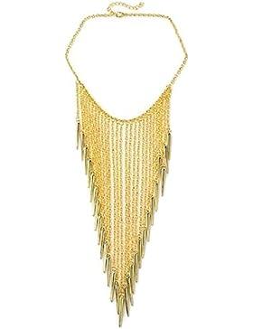 SiAura Material ® - 1x Halskette Statementkette Spikes, Goldfarben, Länge 40 cm
