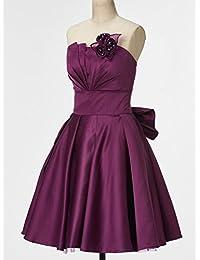 Clocolor Vestido corto A-line vintage cóctel de satén para mujer sin tirantes hombros descubiertos vestido dama de honor de fiestas de noche morado