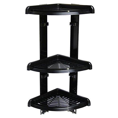 Duschecke - Bad Regal mit 3 Ablagen für Dusche oder Badewanne - Duschablage - Badabalage - Eckregal , Kunststoff Farbe schwarz , 49 cm hoch
