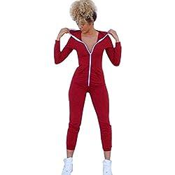 Overdose,Petite Combinaison Sport Femme Legging Ensembles Casual Sweatshirt Jumpsuits (36, Rouge)