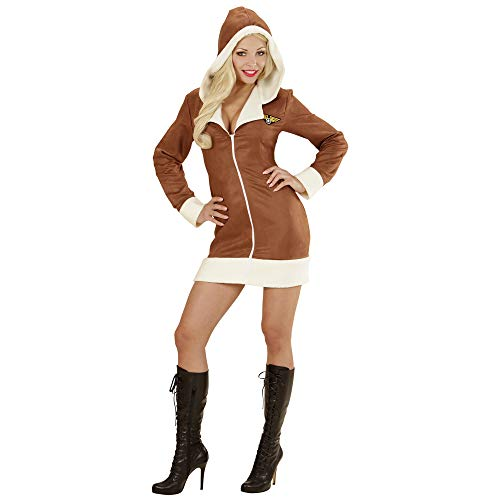 WIDMANN 06571 - Erwachsenenkostüm Aviator Girl, Kleid mit Kapuze, braun, Größe ()