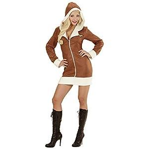 WIDMANN 06573?Adultos Disfraz Aviator Girl, Vestido con Capucha, Color marrón, tamaño L
