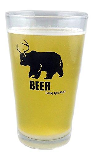 Funny Guy Tassen, Bär + Hirsch = Bier? 16Oz Pint Glas 16 Ounce farblos