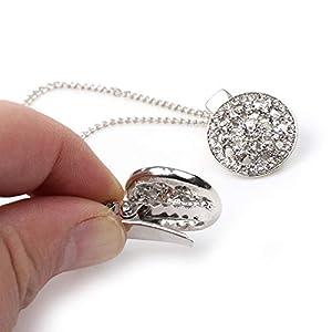 AKKi jewelry Damen Pullover-Clip Kragen Strick-Jacke Cardigan Schal Metallclip blusen Clips Pullovers metallclips Silber Jacke für brosche Schmuck zirkonia ohne Nadel