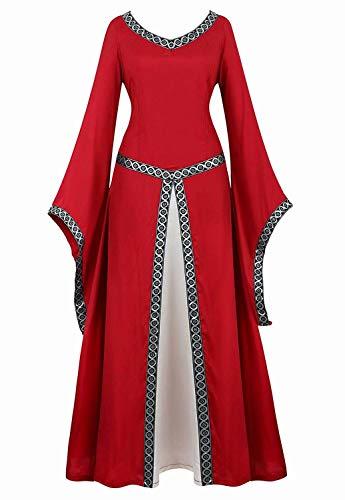 Kostüm Rote Erwachsene Deluxe Königin Für - aizen Mittelalter Kleid Renaissance mit Trompetenärmel Party Kostüm bodenlang Vintage Retro Costume Cosplay Damen Rot S