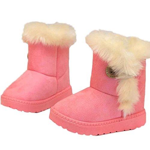 FEITONG Winter Jungen Mädchen Kind Schnee Knöchel Aufladungen wärmen nette Schuhe (2-3 Alter, Khaki) Rosa
