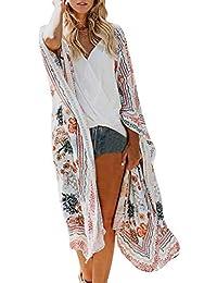 b2c04f7cb2433 Kimono Femme Fleurs Châle Bohême Cardigan Plage Manteau Rétro Vêtement de  Vacances Tunique Été Vestes Printemps Robe Voyage Chic…